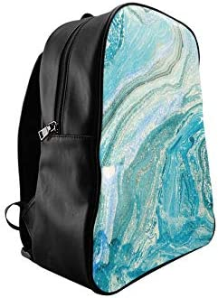 Abstract Ink Marble Stone Texture Blue Womans School Bag College School Bag Fashion Ladies Bags Print Zipper Students Unisex Adult Teens Gift