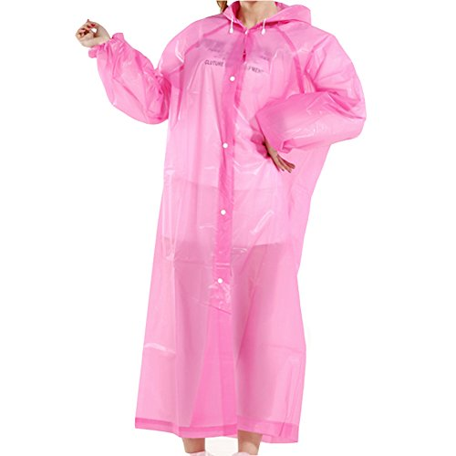 FindUWill Raincoat Rain Poncho with hat Hood and Sleeves,Reusable Rain Gear, Portable Rainwear Cape for fishing boating cycling travel,Lightweight (Pink)