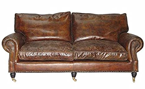 Casa Padrino Chesterfield Leather Sofa 2.5 Seater Luxury ...