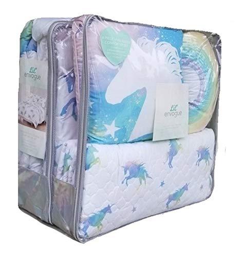 Lil Envogue Pastel Rainbow Unicorn 5pc Twin Size Comforter Set ~ Comforter + Quilt Coverlet + Pillow Sham + 2 Toss Pillows