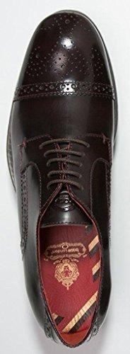 Base London Campbell Hi Shine Bordo Cuero Hombres Brogue Zapatos