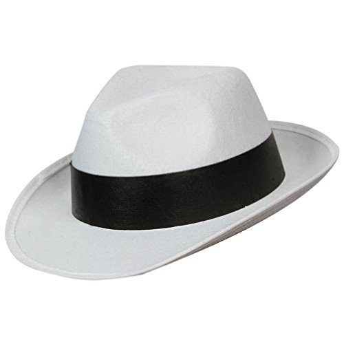 Uwant Fashion White Gangster Hat 1920S Mens Gangsters Mafia Hat With Band Fancy Dress by Uwant Fashion (1920s Gangster Fashion)