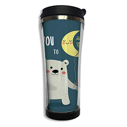 Travel Coffee Mug 3D Printed Portable Vacuum Cup,Insulated Tea Cup Water Bottle Tumblers for Drinking with Lid 8.45 OZ(250 ml)by,I Love You,Teddy Bear and Penguin Best Friends Arctic Lovers under Moon