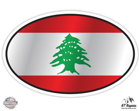 Lebanon Flag Oval - 7