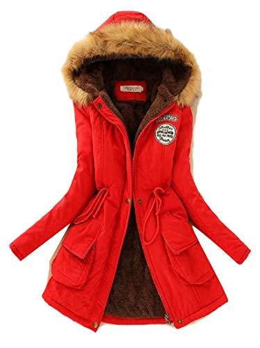 H&E Womens Winter Thicken Faux Fur Hooded Fleece Lined Outwear Parka Coat Red