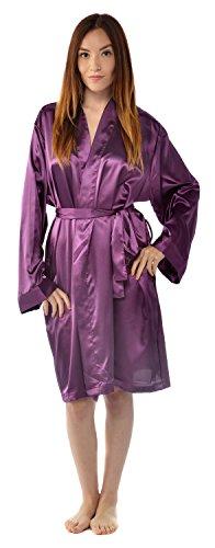 Leisureland Women's Kimono Satin Robe, Solid Color Dressing Gown, Knee Length Purple XXL/XXXL Knee Length Silk Bridesmaid Dress