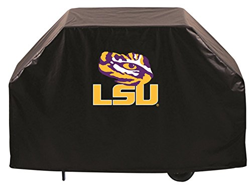 LSU Tigers HBS Black Outdoor Heavy Duty Breathable Vinyl BBQ Grill Cover ()