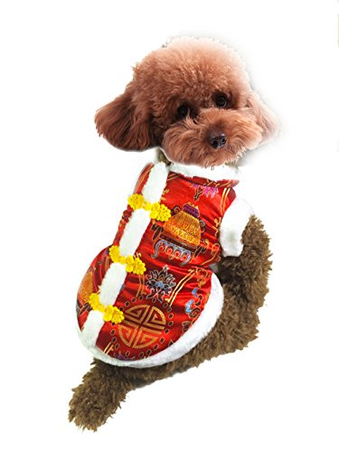 [SELMAI Dog Costume Fur Trim Chinese New Year Tang Pattern Dog Jacket Winter Red M, for Small Dog Cat] (New Years Costumes)