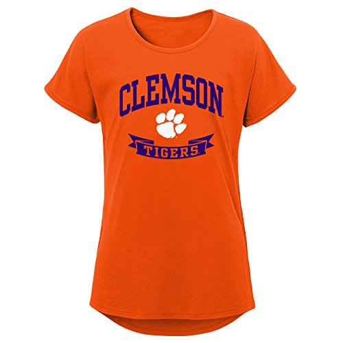 NCAA Clemson Tigers Youth Girls Short Sleeve Dolman Tee, Orange, Youth Medium(10-12)