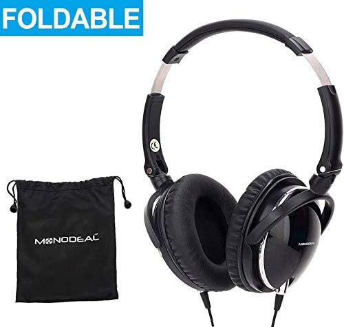 Active Noise Cancelling Headphones with Mic, MonoDeal Over Ear Deep Bass Earphones, Folding and Lightweight Travel Headset with Carrying Case – Black 85 Background Noise Reduction