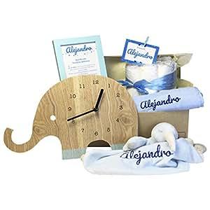 MabyBox Oh My Clock! | Canastilla bebé | Cesta de Recién Nacido | Regalos Bebes Recien Nacidos … (Celeste)