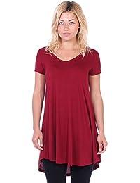 Women's Short Sleeve Tunic Top Loose Fit Shirt - Wear...