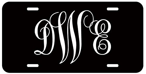 Car Auto Tag (Personalized Monogram License Plate - White Black Fancy Custom Initials Auto Car)