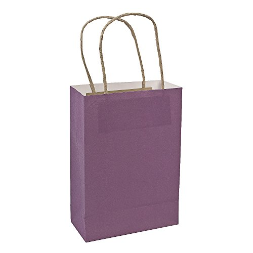Fun Express - Med Purple Craft Bags for Wedding - Party Supplies - Bags - Paper Gift W & Handles - Wedding - 12 Pieces