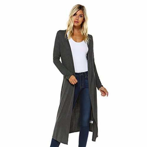 Issac Liev Isaac Liev Extra Long Boho Cardigan Fits Small, Size Up (X-Large, Charcoal)
