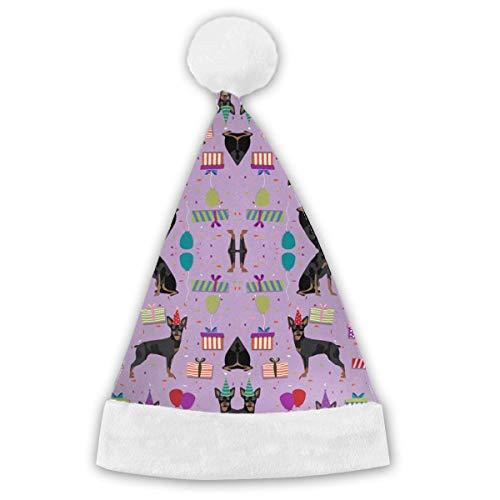 Miniature Doberman Pinscher Funny Party Hats Christmas Hats - Santa Hat,Elf Hat,Coil Santa Hat ()