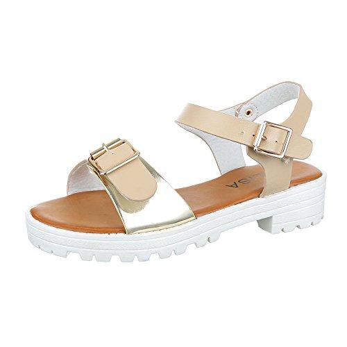 Ital-Design Komfortsandalen Damen Schuhe Römersandalen Blockabsatz Leichte Schnalle Sandalen/Sandaletten Beige Gold