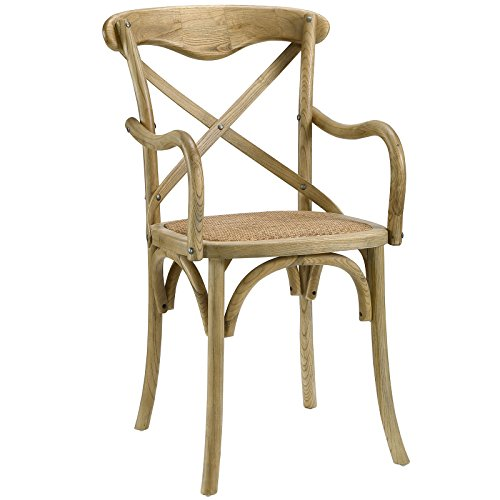 Modway Gear Modern Farmhouse Cross Back Solid Elm Wood Dining Armchair With Rattan Seat In Natural by Modway