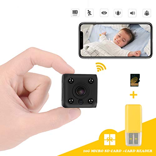 Mini Spy Hidden Camera,1080P HD WiFi Security Surveillance Cameras,Small Wireless Covert Cam for Home/Nanny/Baby/Car/Pet with Motion Detection Night Vision Include 16GB SD Card