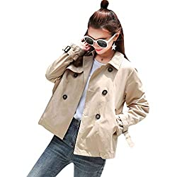 Qhrbvq Spring Autumn Women Loose Turn Down Double Breasted Short Outerwear