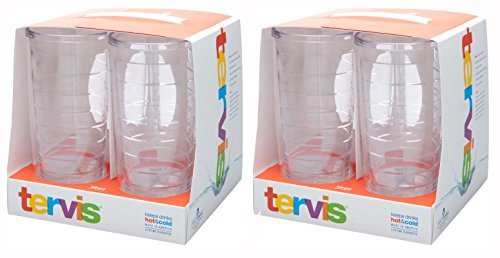 Tervis 16oz clear Tumbler Set of 8, Each Tumbler is 6 Inches Tall by 3.5 Inches in Diameter by Tervis