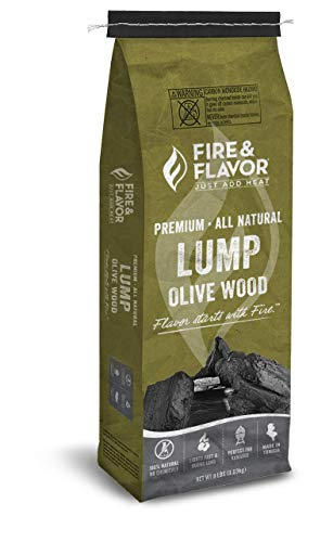 Fire & Flavor Premium All Natural Olive Wood Lump Charcoal