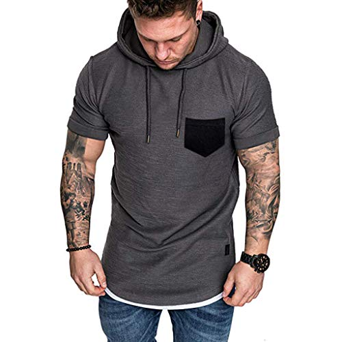 (Hooded Tops for Men,LuluZanm Sale Slim Fit Muscle Short Sleeve Large Size Blouse Casual Pattern Solid Color Shirts Gray)
