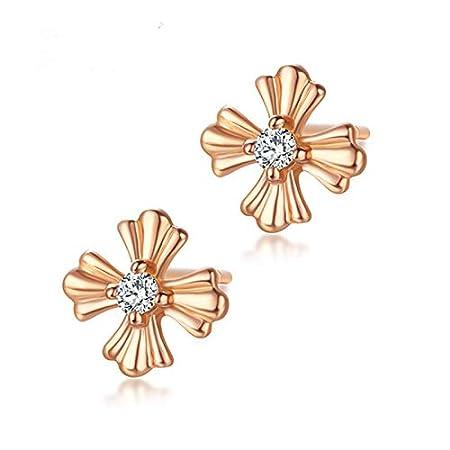 ASHIJIN Flower Earrings-Earrings Gold 18K Cubic Zirconia Gold Earrings Gold Flower Earrings Stud Earring for Women Girls Hypoallergenic Earrings
