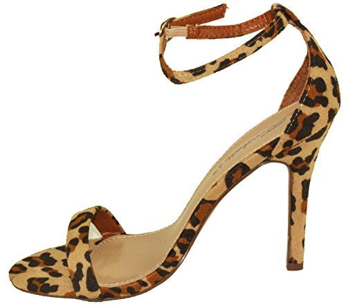 Breckelles Womens Sydney-46 Stiletto Ankle Strap High Heel Dress Sandals Leopard ExbDPju