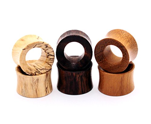 Mystic Metals Body Jewelry Set of 3 Pairs Wood Tunnels (Tamarind, Teak, Sono) (7/8