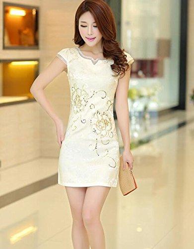 Aro Cheongsam Orange V Mesh Lora Dress Floral Qipao Mini Print Women's Neck rUrHPf