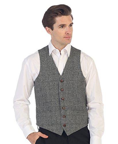 Gray Wool Vest - Gioberti Men's 6 Button Slim Fit Formal Herringbone Tweed Vest, Checkered Gray, Large