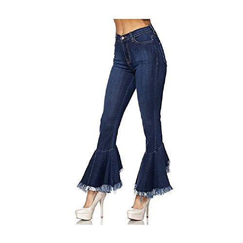 Zhrui Femme Bleu Bleu Longue Jeans Taille Pantalon Plus HarHwq
