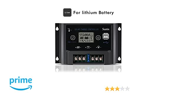 Upgraded Solar Panel Charge Intelligent Regulator with Fuse Dual 5V 2A USB Port Overload Protection Temperature Compensation Sunix 10A 12V//24V Solar Charge Controller