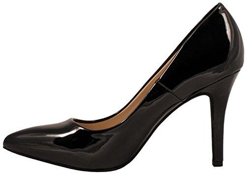 Nero eleganti tacco Elara con comode pump stiletto a punta chunkyrayan tacco scarpe con con xqOPTxp