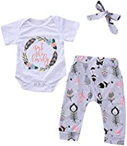2PCS Girls Outfits, Newborn Baby Boys Girls Short Sleeve Romper Feather Print Pants Headband Outfits for Summe