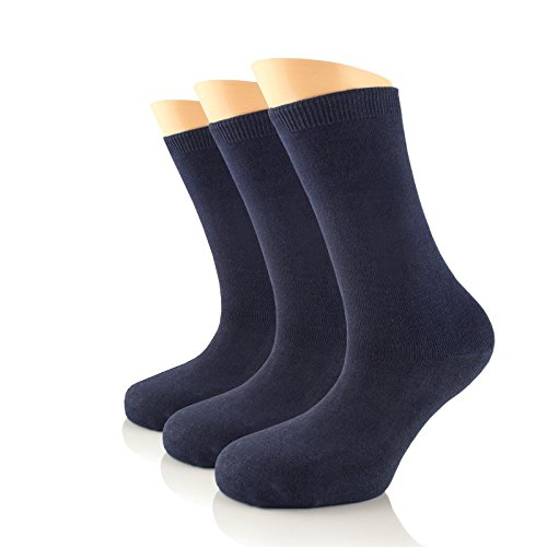 Women's Dress Crew Socks Bamboo Business Casual Comfort Socks SHOE SIZE : 6-9 & 9-12 (3 Pairs) (9-12, Navy (3 Pairs))