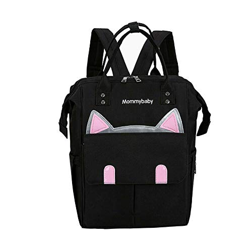 Large Capacity Mommy Backpack Baby Nappy Tote Bags Multi Function Travel Waterproof Backpack for Mom Baby Care (Black)