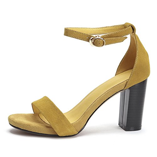 AllhqFashion Women's High Heels Frosted Solid Buckle Open Toe Sandals Yellow T1MQW4q