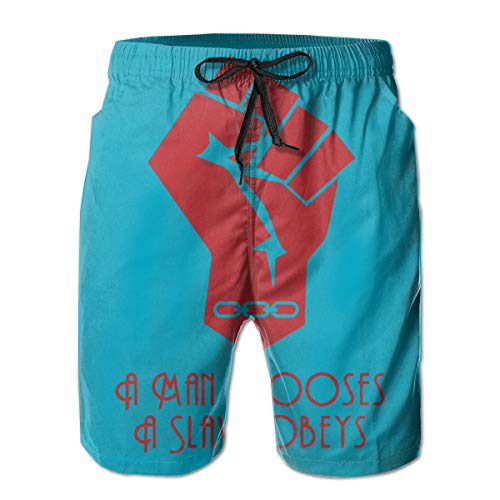 A Man Chooses, A Slave Obeys Bioshock Beach Board Shorts with Pockets and Lining White ()