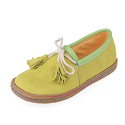 Qiusa Mocasines Tassel Bowknot para Mujer Slip on Faux Suede Stitching Comfort Flat (Color :