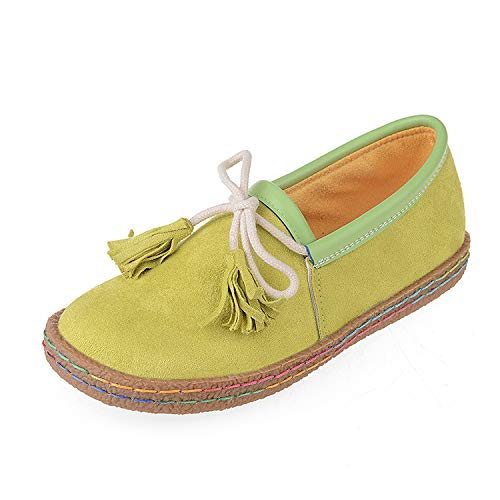 Qiusa Mocassini da donna Tassel Bowknot Slip Slip Bowknot on Faux Suede Stitching Comfort Flat (Colore : Verde, Dimensione : EU 38) Verde 9b3401
