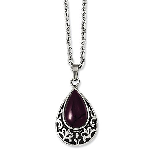 Chisel Stainless Steel Antiqued and Purple Cat's Eye Teardrop 20in Necklace One Size