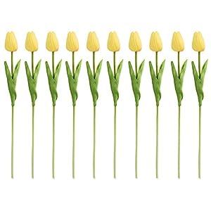 Sundlight PU Tulip Silk Artificial Flowers 10pcs Simulation Flowers Wedding Decoration-Yellow 111