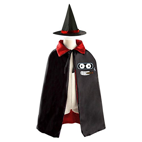Bender Costume (Futurama-Bender Cartoon Children Kids Halloween Cape Cosplay Party Costume Cloak Cape Witch Hat)