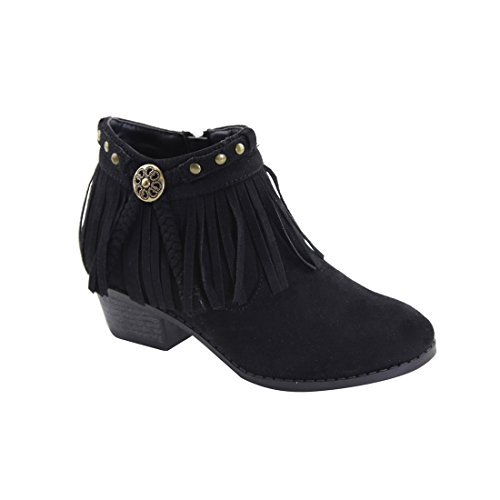 LOVEMARK FO85 Girl's Metallic Studded Tassel Fringe Stacked Heel Ankle Booties, Color Black, Size:12 M US Little Kid
