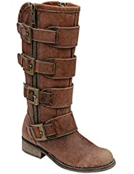 Corral Womens Distressed Cognac Straps & Zipper Boots P5078