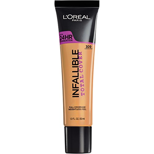 L'Oreal Paris Infallible Total Cover, Weightless, Full Coverage Foundation - 309 Caramel Beige - 1 fl oz