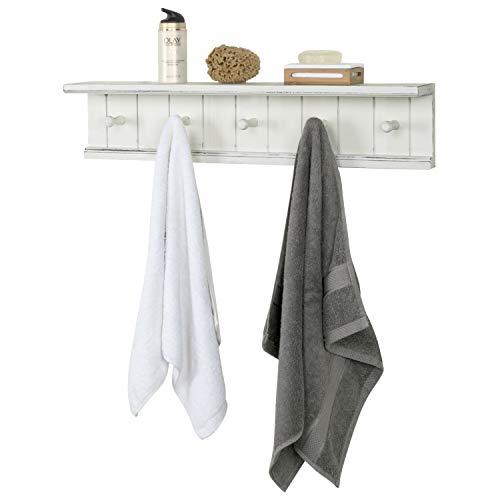 MyGift 5-Hook Vintage White Wood Floating Bathroom Shelf & Towel Rack