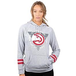 UNK NBA Women's Fleece Hoodie Pullover Sweatshirt Varsity Stripe, Gray